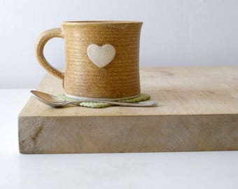 One heart mug glazed in natural brown - hand thrown stoneware pottery