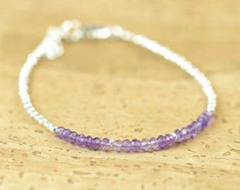 Amethyst  and sterling silver beads  bracelet