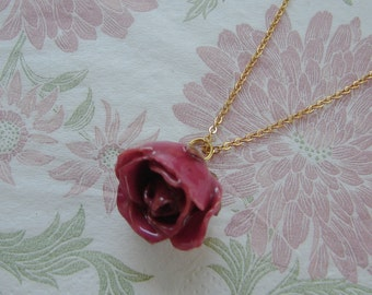 REAL Rose Flower Pendant - Fuchsia Pink Rosebud Flower Necklace - Beautiful Piece of Nature - Simple Gold Chain Design - Choose Chain Length