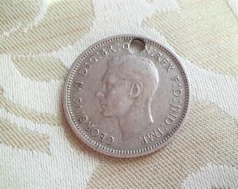 Vintage 1943 Australian Shilling Pierced Coin for Bracelet or Chain
