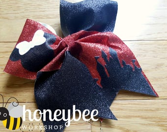 beautiful castle glitter bow - mrs mouse bow - red and white minnie bow for family vacation
