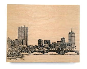 Wood Wall Art Panel Boston Skyline Cityscape Art on Wood Customize Your Colors And Size Boston Art Cityscape Skyline On Wood Panel