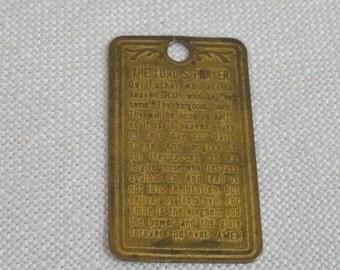 Vintage Brass Lord's Prayer Pendant