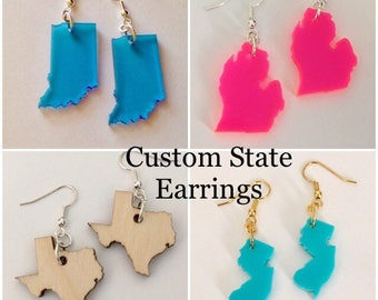 Personalized Jewelry Custom State Earrings - Customizable Jewelry in Acrylic - Pick Color, Hooks, and State by purpleandlime