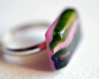 Pink aventurin green black rectangle glass ring, pink fused glass ring, glass jewellery, sariyer, free shipping