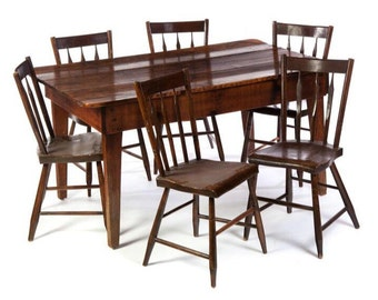 Antique Primitive Farm Country 3 Board Table & 6 Chairs 28h57.5L35.5w Shipping is not free
