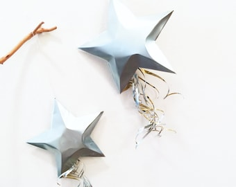 Peace On Earth Shooting Silver or Aqua Star, Christmas Ornament, Aluminum Can Upcycled, Comet, Star of Bethlehem