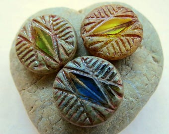 NEW MEADOW DIAMOND Coins . Czech Picasso Glass Beads . 17 mm (4 beads)