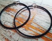 Black Hoop Earrings, black beaded hoop earrings, black Matte hoop earrings, black, matte, beaded, seed Bead hoop earrings, seed beads