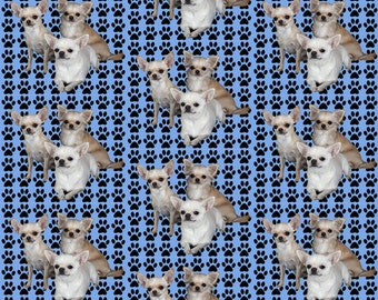 Chihuahuas And Paw Prints Fabric