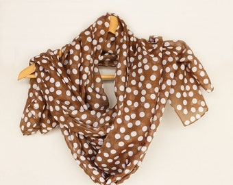 Polka Dot Spring Scarf, Brown Mocha Lightweight Shawl, Summer Beach Cover-up Pareo Top Soft Touch Chunky Stole, Trendy Scarf