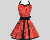 Sweetheart Retro Woman Apron , Elegant Large Floral in Red with Hints of Gold Trimmed in Black Vintage Style Full Kitchen Cooking Apron