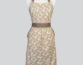 Classic Retro Apron - Cute Ambleside Green Pink Ivory Spring Floral Vintage Style Chef with Built in Side Pockets and Fitted Bodice