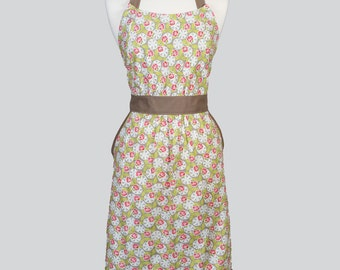 Classic Womens Retro Apron - Cute Green Pink Ivory Spring Floral Vintage Style Kitchen Woman Apron with Pockets and Fitted Bodice