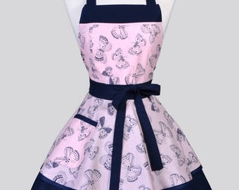 Womens Ruffled Retro Apron / Butterflies Navy on Pink Blush Womans Cute Flirty Vintage Style Pinup Kitchen Apron to Personalize or Monogram