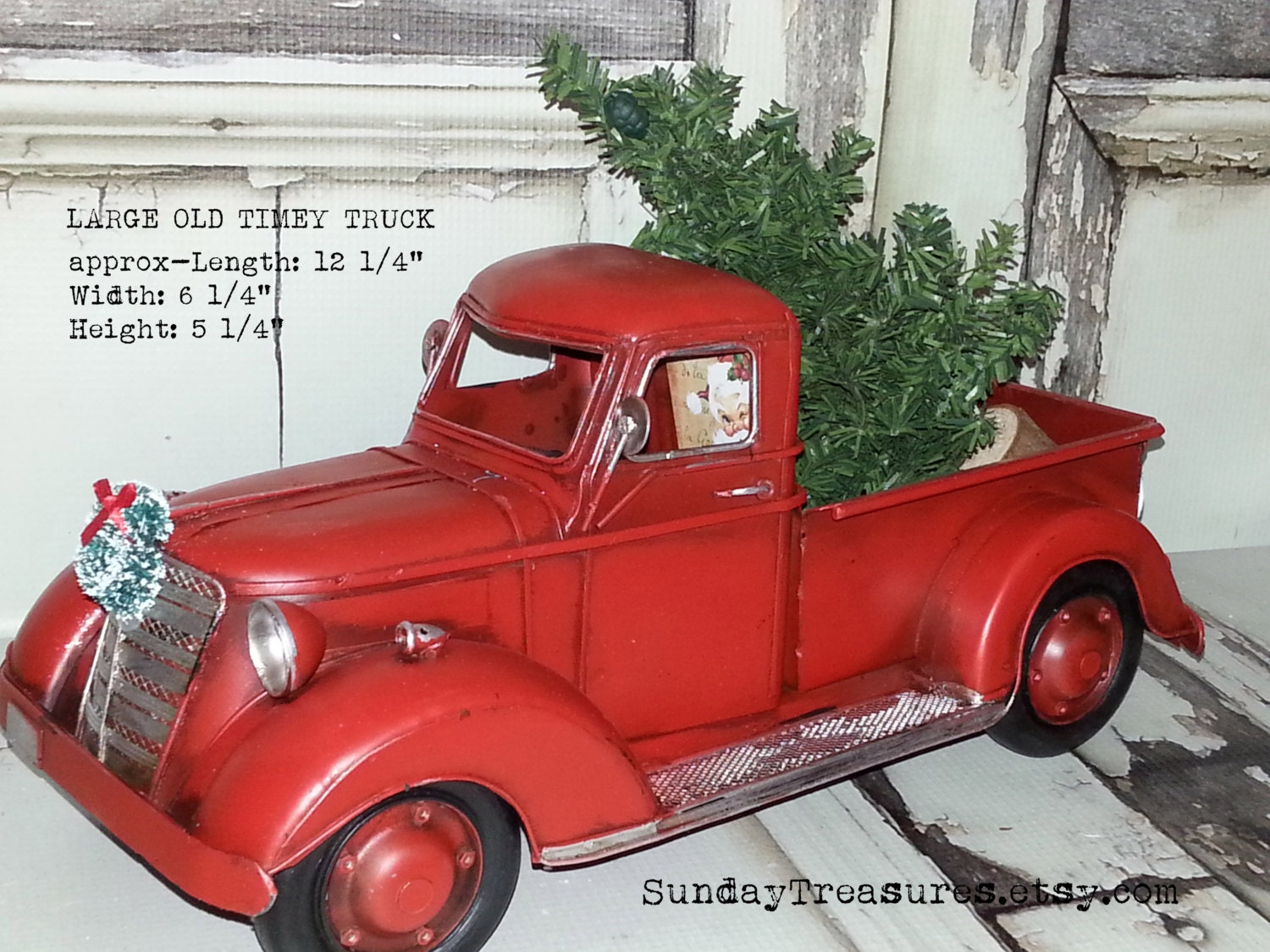 large metal old fashioned red truck christmas decor /