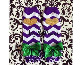 Mardi Gras Leg warmers, Purple chevron leg warmers , heart leg warmers , baby leg warmers, bow leg warmers, girl leg warmers