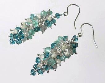 Blue Cluster Earring, Gemstone Cluster Earrings, Something Blue, Cascade Earrings, Wedding