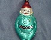 Vintage Green Clown Christmas Ornament Glass