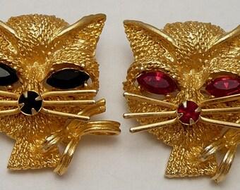 Rhinestone Cat Pins Black & Red Eyes Vintage Scatter Brooch Pair