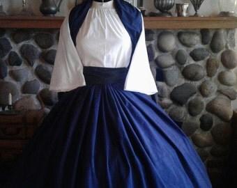 Ready to Ship Civil War Colonial Prairie Pioneer Dress skirt sash blouse and Shawl womens