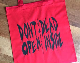Don't Open Dead Inside Tote Bag - Black on Red