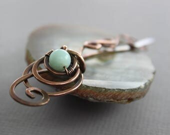Woven flower copper shawl pin or scarf pin with sea-foam color amazonite stone - Fibula - Hair slide - Hair accessory - SP040