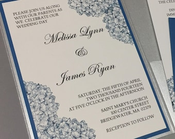 Hydrangea with silver pocket fold spring summer wedding invitation set