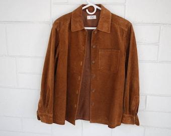 vintage suede leather shirt jacket - VS 2 - Caramel Brown - size S - 1990's