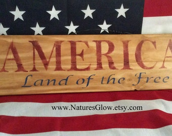 America Sign, Land of the Free, Patriotic Decor, Patriotic Sign, Americana Decor, Patriotic Wall Decor, 4th of July Decor, Americana Sign