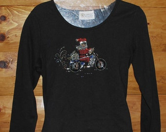 90's Ladies Biker Santa Tee, Glitzy Santa on Bike, Christine Alexander Design, long sleeves