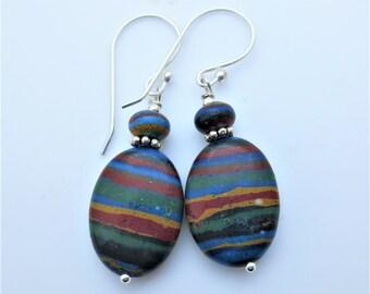 Rainbow Calsilica Oval Sterling Silver Gemstone Earrings EE Designs