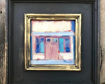 MAIN STREET, ISLETON - 6 x 6 - Original Artwork - Building - California - Art - Painting - Landscape - Blue Sky - Pink - Small Painting