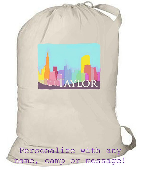 Summer Camp Bag, Personalized Canvas Backpack, Large laundry totebag, monogrammed laundry bag, graduation gift, grad gift, college laundry
