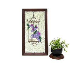 Mid Century Crushed Rock Mosaic, Hanging Flower Cage