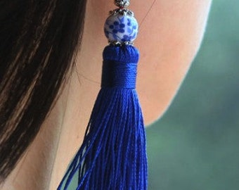 Gypsy Cobalt Blue Tassel Earrings Oriental Bead Blue Moonlight Ocean Colors