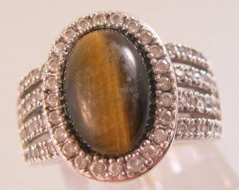 Joseph Esposito Cabochon Tiger Eye 1.28ct CZ Sterling Silver Ring ESPO Size 7 Vintage Ring