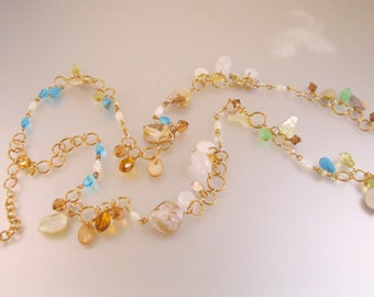 """Joan Rivers Long Charm Necklace Turquoise MOP 39"""" Estate Jewelry"""
