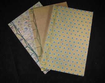 Three Notebook Set - Stab Binding Journal - Green