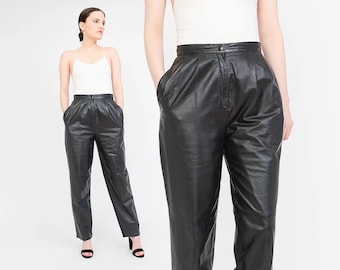 Vintage 80s Black Leather Pants High Waist Pleated Trousers Tapered Leg Pants Medium M 28 waist