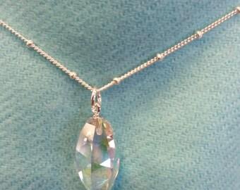 Crystal AB Teardrop on Silver Bead Chain
