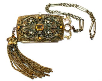 Early 1900's Trinity Plate Ornate Jeweled Coin Purse with Tassel