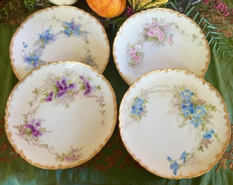 Vintage Luncheon Plates, Haviland France, Hand-painted, Gold Rim