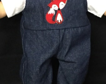 Doll Clothes For 15 Inch Dolls, Handmade to Fit Like American girl Bitty baby, Red Fox Denim Overalls and Shirt