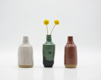 Bud vase - ceramic vase set - home decor - office decor - flower vase - mini vase - desk vase - minimalist bud vases - small bud vases