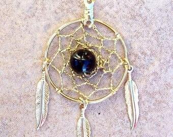 ON SALE ECLIPSE Necklace - gold dream catcher necklace w/ Black onyx, gold dreamcatcher necklace, dream catcher necklace