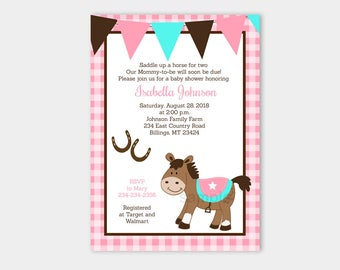Western Horse Pink Gingham Cowgirl Baby Girl Baby Shower Invitations Printable Digital File bs-127