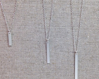 Dainty Vertical Stick Bar Sterling Silver Pendant Necklace - Weddings   Bridesmaids   Thank You Gifts