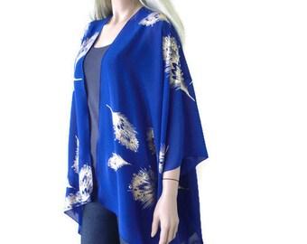 Boho Kimono cardigan -Cobalt blue and gold-Chiffon Ruana cardigan-Gorgeous