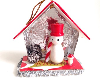 Snowman Putz House Christmas Ornament
